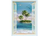 digital mural wallpaper, вертикальное, окно, море, остров
