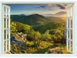 digital mural wallpaper, окно, панорама, горы, лес