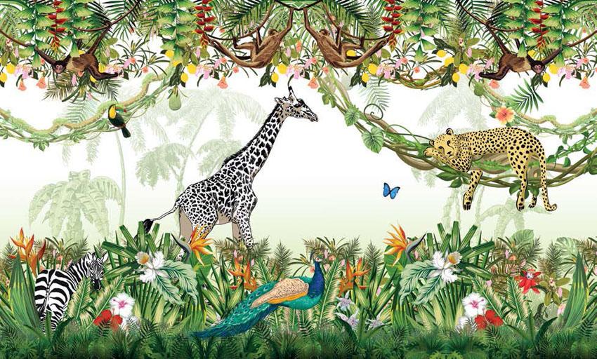 Фотообои рельефные 5д детские джунгли