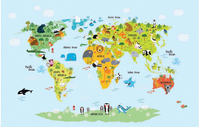 Фотообои рельефные 5д детские карта